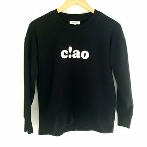 """Madewell Black """"Ciao"""" Graphic Pullover"""